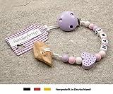 Veilchenwurzel an Schnullerkette mit Namen | natürliche Zahnungshilfe Beißring für Babys | Schnullerhalter mit Wunschnamen - Mädchen Motiv Herz in flieder