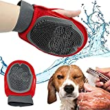 CONNECTWIDE® Pets Grooming Mitt Pet Brush Dog Grooming & Cat Grooming Glove Right & Left Handed Fit Eco Friendly Soft & Gentle Shedding Brush SIZE : 30*20*5 Cm (Red/blue )