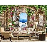 BZDHWWH Mediterrane Landschaft Foto Tapete Wandbild 3D Vintage Tapeten Hotel Schlafzimmer Wohnkultur Seidentapete Für Weihnachten,210 Cm×150 Cm