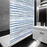 Design Duschrollo Blaue Streifen | viele Größen | schnelltrocknend | Deckenbefestigung mit Halbkassette | halbtransparent, blau gestreift | 80x240cm (BxL)
