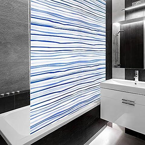 Design Duschrollo Blaue Streifen | viele Größen | schnelltrocknend | Deckenbefestigung mit Halbkassette | halbtransparent, blau gestreift | 160x240cm (BxL)