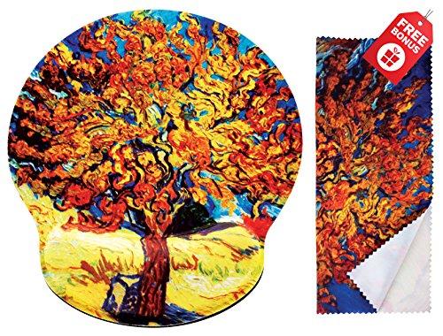 Van Gogh Mulberry Tree ergonomisches Design Mauspad mit Handballenauflage Hand Support. Runder großer Mausbereich. Passende Mikrofaser Reinigungstuch für Brillen und Bildschirme. Großartig für Gaming & Arbeit