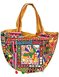 Exotic India Multicolor Embroidered Shopper Bag With Mirrors - Multicolor