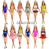 Miunana 5 Sets Sommer Beach Badeanzug Strand Bikini Baden Badebekleidung Outfits Kleidung Sommerkleidung für Barbie Puppen Doll