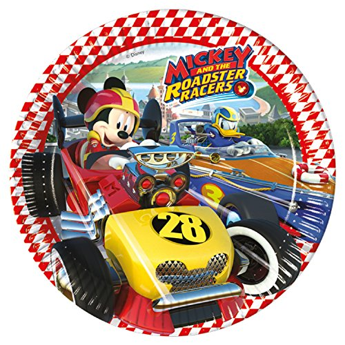8 Teller * MICKEY ROADSTER * von Disney für Kindergeburtstag oder Motto-Party // Party Partyteller Pappteller Plates Motto Mickey Maus Mouse Autos Rennautos Rennen (Rennen-auto-teller)