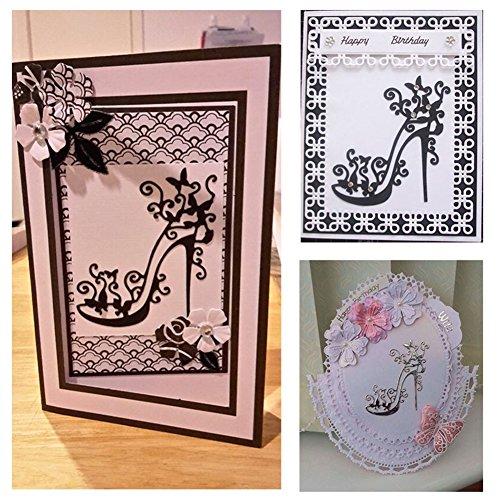 Ruby569y Stanzschablone aus Metall, schöne Heels Schuhe, Scrapbook-Dekoration, DIY Papier Craft Schablone für DIY, Grußkarten - Silber