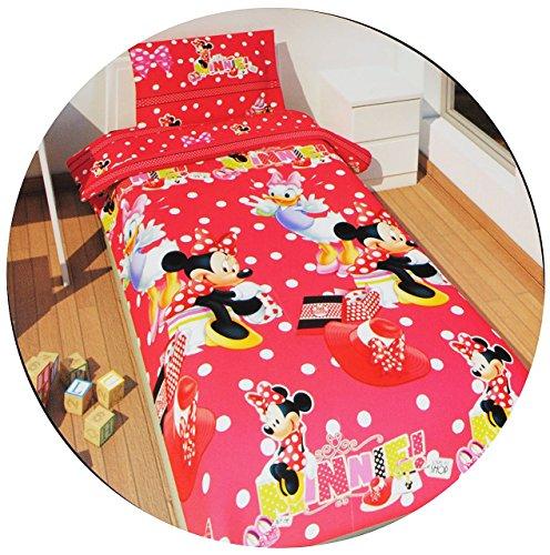 alles-meine.de GmbH 2 TLG. Set: Bettwäsche -  Disney Minnie Mouse  - 135 x 200 cm & 80 x 80 cm - Microfaser - für Mädchen - Mäuse / Daisy - Maus / Playhouse - Punkte gepunktet ..