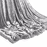 UAREHOME CRUSHED VELVET SOFT TOUCH LUXURY THROW - SILVER