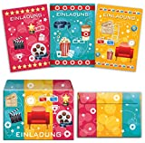 12 Einladungskarten incl. 12 Umschläge zum Kindergeburtstag für Mädchen und Jungen Kino-Party (4 x blau, 4 x pink, 4 x gelb) / Umschlag / bunte Einladungen zum Geburtstag / bunte Geburtstagseinladungen (12 Karten + 12 Umschläge)
