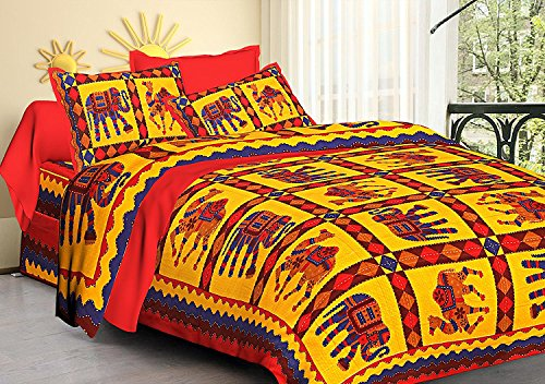 Kuber Industries™ Designer Katha Work Cotton Embroided Double Bedsheet King Size with 2 Pillow Cover