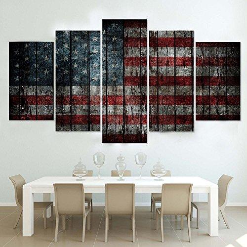 Painting Art Wand Dekoration Kunst Moderne Malerei auf Leinwand 5 Panel Amerikanische Flagge Wohnzimmer Bilder HD Gedruckte Poster Cuadros Frame, Groß -