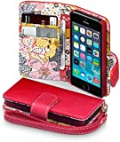iPhone 5/5S/SE Case, Terrapin [Red] [Lily Floral Interior] Textured PU Leather Wallet Case with Card Slots Cash Compartment and Detachable Wrist Strap for iPhone 5S / 5 - Red