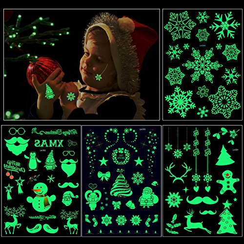 Howaf 82Pcs Brillan en la Oscuridad Navidad Tatuajes temporales Niños Tatuaje Falso Pegatinas para niñas Infantiles Fiesta de cumpleaños Regalo Navidad Bolsas Aventuras Piñata Juego