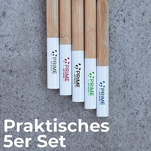 PRIME ART WOOD® 5er Pack Bambus Zahnbürsten aus nachhaltigem Bambus Holz - BPA-freie Zahnbürste (Vegan, umweltfreundlich, plastikfrei verpackt) Holzzahnbürste Mittelweiche Borsten für beste Sauberkeit
