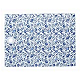 KitchenCraft Rectangular Worktop Protector with Blue Floral Pattern, Multi-Colour, 40 x 30 cm