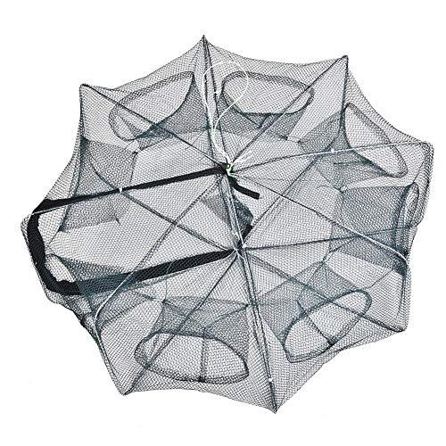 Dilwe Angeln Fischer Netz Wurfnetz, tragbare Faltbar Fischernetz Käfigfalle Casting Net für Krabben Garnelen Langusten 8 Löcher 6 Löcher(8 Loch)