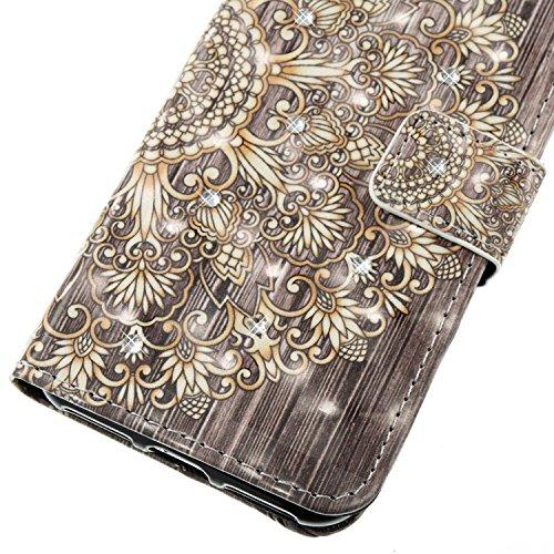 EUWLY Protettiva Portafoglio Custodia in Premium PU Pelle per iPhone 7/iPhone 8 (4.7), 3D Dipinto Pattern Disegno PU Leather Wallet Custodia Bling Brillante Diamante Sparkling Strass Glitter Shell Co Fiore Doro
