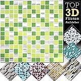 Grandora 4 Stück 25,3 x 25,3 cm hellgrün grün Silber Fliesenaufkleber Design 9 I 3D Mosaik Fliesenfolie Küche Bad Wandaufkleber Fliesensticker Fliesendekor W5423