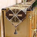 Weihnachtsgeschenk Die Geometrische Geschenk Tischdecke Anzug Kaffee maschine TV-schrank Flagge Flagge tuch Bett, Kaffee Farbe, 30 * 180 cm.