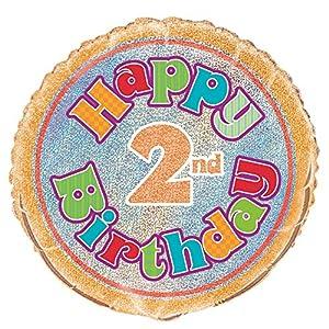 Unique Party Globo Foil cumpleaños Happy 2nd Birthday, 45 cm (55487) , Modelos/colores Surtidos, 1 Unidad