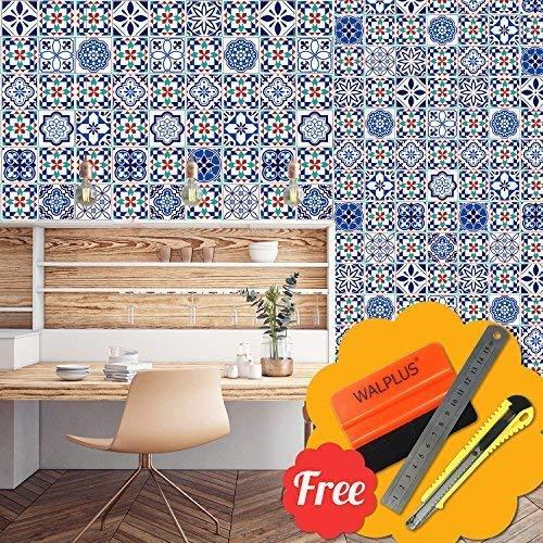 Selbstklebend Wandkunst Aufkleber Vinyl Wohndeko DIY Wohnzimmer Schlafzimmer Küche Dekor Tapete Marrakesch Blau Mix Wand Fliesen Aufkleber 48 Stk. 15cm X 15cm ()