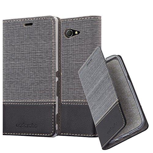 Cadorabo Hülle für Sony Xperia M2 Aqua - Hülle in GRAU SCHWARZ - Handyhülle mit Standfunktion & Kartenfach im Stoff Design - Case Cover Schutzhülle Etui Tasche Book