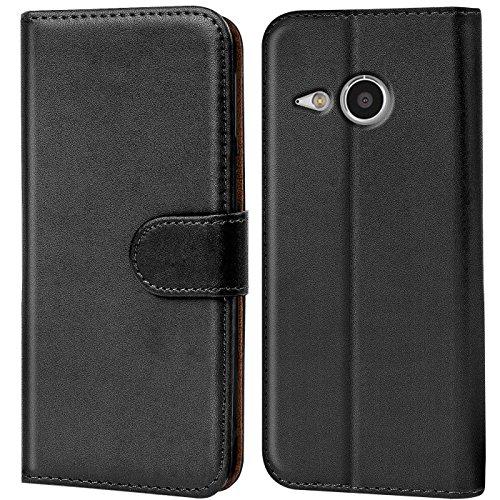 Verco One Mini 2 Hülle, Handyhülle für HTC One Mini 2 Tasche PU Leder Flip Case Brieftasche - Schwarz