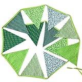 cosanter 1x fresco verde bandierina in tessuto di cotone ghirlanda di decorazione bandiera triangolo per festa di compleanno cerimonia matrimonio