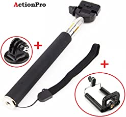 ACTION PRO Brand Aluminum Selfie Stick for GoPro Hero/Sj Cam/Yi Cameras Handheld Extendable Monopod with 1 x Tripod Adapter and 1 x Camera Case Holder