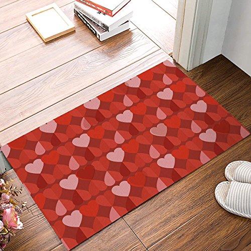 Jkimiiscute Alfombra de Entrada repetida con diseño de corazón para baño, tapete de Interior Antideslizante para baño, Alfombrilla de Ducha de 60 x 40 cm