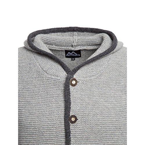 ALMBOCK Trachten Jacke Herren grau | Trachtenjacke mit Kapuze aus flauschiger und atmungsaktiver Lammwolle | Trachten Jacke Herren - Trachtenweste 54 - 4
