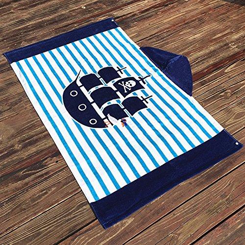 Mangeoo Con tapón de algodón puro de una toalla de baño los niños pueden llevar capa larga playa piscina super absorbentes hot spring albornoz albornoz toalla de baño adorable hombres y mujeres 127*76cm,127*76cm borde azul barco pirata de rayas