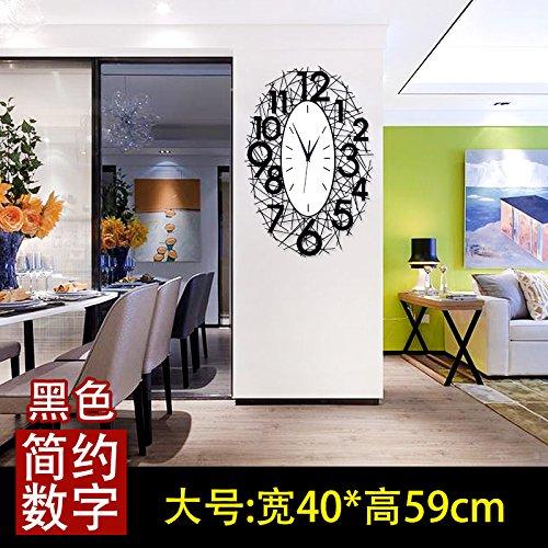 OLILEIO la personnalité créatrice de mode moderne de décoration Montres Horloge Horloge murale nid Chambre Réveil Quartz,20 pouces (50,5 cm de diamètre),Grand Noir 40*59 cm