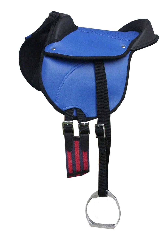Amesbichler Ponysattel Ponyreitkissen Reitkissen mit Zubehör passend komplettes Set blau 10″ | Pony Reitpad auch für Holzpferde geeignetes Sattelset | Cub Saddle Set