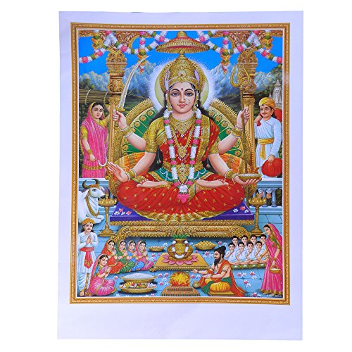 Bild Lakshmi 50 x 70 cm Gottheit Hinduismus Kunstdruck Plakat Poster Glitzerfarbe Religion Spiritualität Dekoration