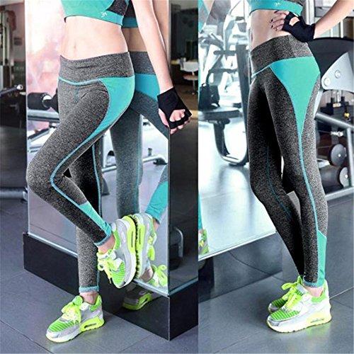Pantalon de sport Ularmo Pantalon femme taille haute sport Legging Workout Sport Fitness Pantalon en cours Vert