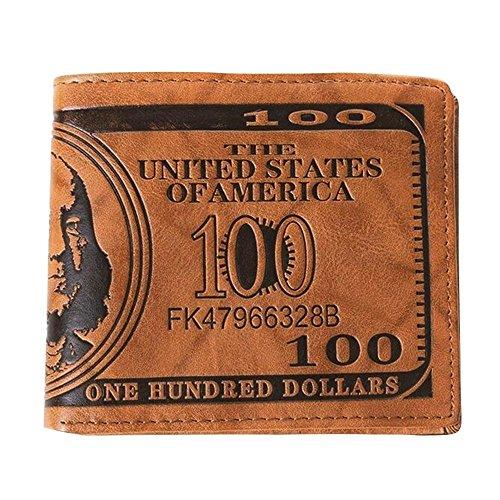 Männer 100 US-Dollar Bill Stil Geldbörse PU Leder Kreditkarte Foto Halter Bifold Billfold hellbraun