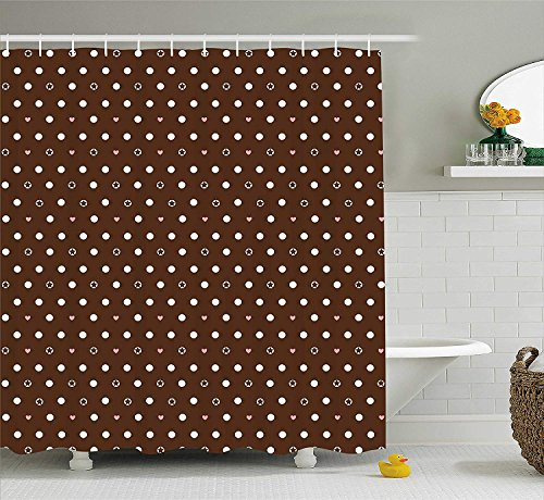 ADAM MARTINEZ JR Modern Shower Curtain, Different Sized Dots Bubble Like Forms Abstract Pattern in Contrast, Fabric Bathroom Decor Set with Hooks, 75 inches Long, Dark Brown Light Pink White