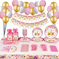 Unicorn Party Supplies and Decorations Set 192 piece for birthday party Supplies Serves 16 guests Unicorn Themed Party Perfect for Girl Birthday Gift Unicorn Party candy box