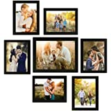 Moms'creations Collage Photo Frames, Set of 7,Wall Hanging (6 pcs - 5x7 inch, 1 pcs - 8x10 inch) (Black)