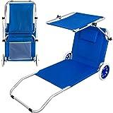 Actieve 62610 inklapbare ligstoel van aluminium met wielen, 117 x 67 x 14/60 cm