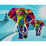iCoostor Paint by Numbers - Kit de pintura acrílica para niños y adultos principiantes, diseño de elefantes coloridos, 40,6x
