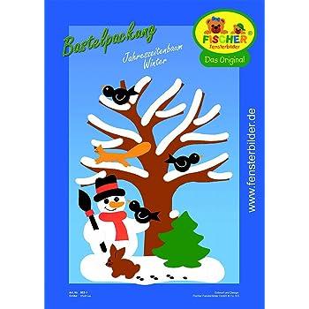 Fischer Fensterbilder Jahreszeitenbaum Winter Bastelpackung 27x37