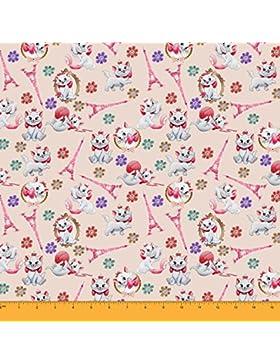 Soimoi Algodón Gasa Tela Impresión Del Gato Arte Del Material De 58 Pulgadas De Ancho Por El Salmón Meter-Luz