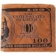 Vococal - Bifold Billetera / Cartera de Cuero PU para Hombre con Sostenedor de Tarjeta de Crédito Foto (Estilo de Billete de 100 Dólares,Claro Marrón )