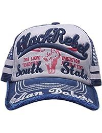 MINAKOLIFE Hombre 100% Algodón Afligido Vendimia Negro Etiqueta Béisbol  Gorro de malla Snapback Camionero 90f7ba26b91fa