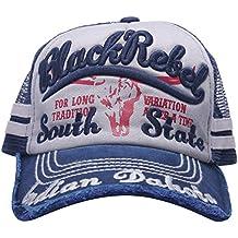 MINAKOLIFE Hombre 100% Algodón Afligido Vendimia Negro Etiqueta Béisbol  Gorro de malla Snapback Camionero 8626ab7939a