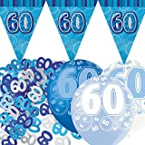 Unique Einzigartige bpwfa-4153 Set 60. Geburtstag Folie Banner Party Deko-Set, Blau