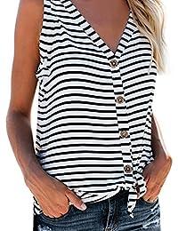 Kangrunmy- DéBardeur Femme Haut Coton Femme Bouton à Col en V Chemise sans  Manche Stripe Tee-Shirt Tank Top Ete… a7b573eb1c5