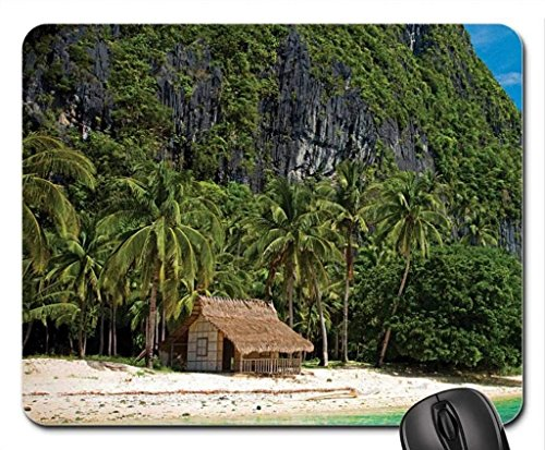 Strand Thema Gaming Mouse Pad, Hütte aus Strand - Mousepad, Mousepads.